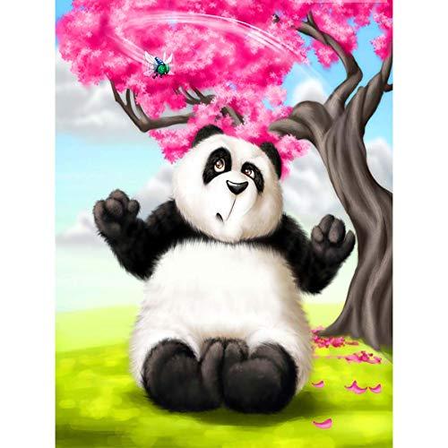 Chermeen 5D Diamond Painting Panda Animal Redondo Rhinestone, Bricolaje Kit De Pintura De Diamante Pintura Pradera Flores De Cerezo Punto De Cruz Artes Lienzo Pared Decoracin 30x40 cm