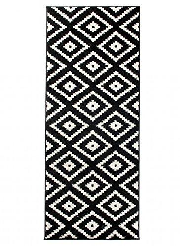 Carpeto Läufer Teppich Modern Schwarz 70 x 200 cm Geometrische Muster Kurzflor Furuvik Kollektion