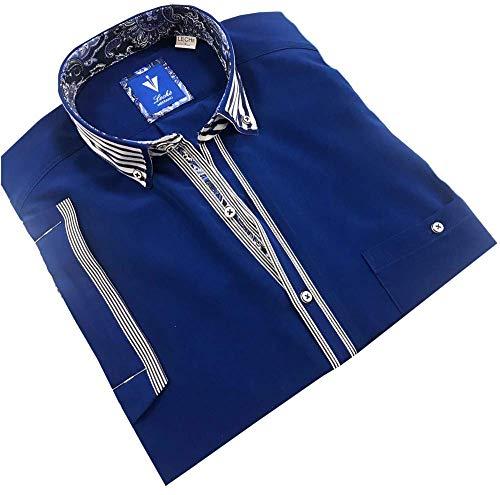 Leché Designerhemd Kurzarm in Blau mit weiß abgesetzter Knopfleiste (XXL)