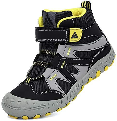 Mishansha Wanderschuhe Kinder Trekkingschuhe Jungen rutschfeste Freizeit Schuhe Atmungsaktiv Bergschuhe Rauchig Schwarz Gr.31