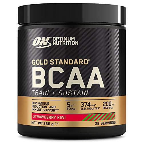 Optimum Nutrition Gold Standard BCAA, Amino Acid Powder, Vitamin C with Zinc, Magnesium and Electrolytes, Immune Booster, Strawberry Kiwi, 28 Servings, 266 g, Packaging May Vary