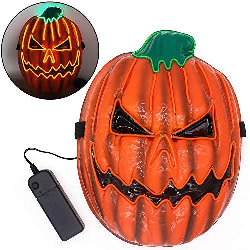 Oxsaytee Máscara de Halloween para LED, LED Máscaras Adultos Máscara de Calabaza, mascarilla con luz Festival de máscara LED para Halloween, Cosplay, Disfraces de Fiesta y Accesorios de película