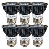 Fwaytech E26 LED スポット 調光 5W ハロゲン電球40W~50W相当 中角30度 ダクトレールLEDスポットライト 密閉器具対応 (電球色相当(2700K), 本体黒 E26口金 調光対応(6個セット))