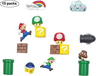 15 Packs 3D Super Mario Fridge Magnets Set For Decorative Refrigerator,Fun School Office Whiteboard Magnet