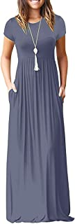 Viishow Women's Short Sleeve Loose Plain Maxi Dresses...