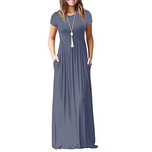22191ea84c3 Viishow Women s Short Sleeve Loose Plain Maxi Dresses Casual Long Dresses  with Pockets