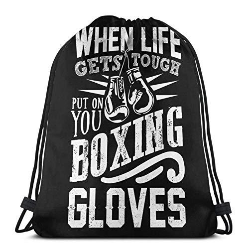 LREFON Guantes de Boxeo Bolsa de Deporte Saco de Gimnasio Mochila con cordón Paquete de cincha sólida