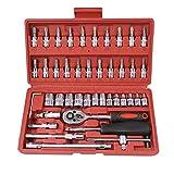 FYYONG 46 PC/sistema de juego de llaves de carraca Multifunctionl Profesional mecánico de reparación Kit de herramientas de combinación con lleva la caja de reparación de automóviles (Color : Red)