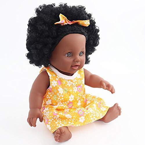 Augproveshak Silikon-Spielzeug Puppen, afrikanische Amerikanische Schwarze Babypuppen für Kinder Mädchen Geburtstag Geschenk gelb