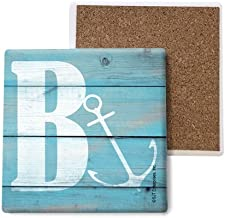 SJT ENTERPRISES, INC. Initial/Letter Lake and Beach Themed Coasters -B Absorbent Stone Coasters, 4-inch (4-Pack) (SJT96863)