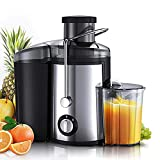 Extractor Juice, spremiagrumi centrifuga a doppia velocità, con funzione antiscivolo, acciaio inossidabile facile da pulire, scivolo di alimentazione per frutta intera verdura, anti-gocciolamento