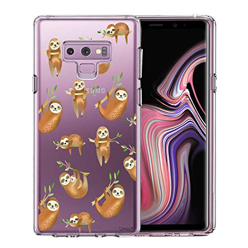 Unov Case for Galaxy Note 9 Clear with Design Soft TPU Shock Absorption Slim Embossed Pattern Protective Back Cover(Hanging Sloth)