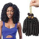 "6""(15cm) SEGO Extensiones Trenzas Africanas [Jamaican Bounce Crochet Hair] Pelo Sintético Rizadas Cortas Marlybob Twist Braids Hair (1Bundle,20Roots,Negro Natural)"