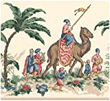 Prepasted Wallpaper Border - Vintage Riders on Camel Elephant Ivory White Wall Border Retro Design, Roll 15 ft. x 10 in.