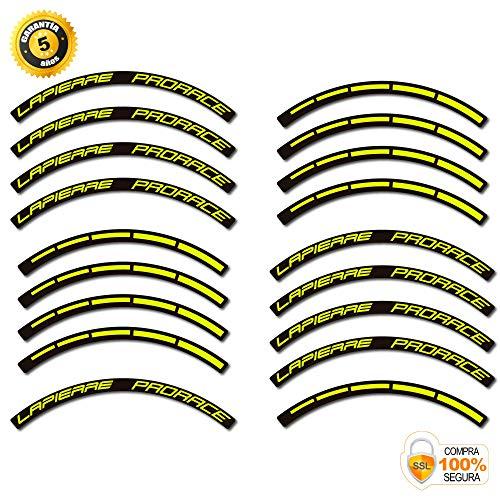 Lapierre Prorace - Adesivi per cerchioni di bicicletta, 29 pollici Original Giallo Neon