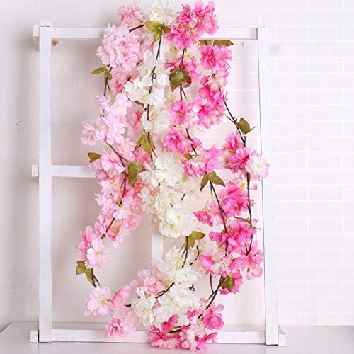 JYJYJ Künstliche Blumen Rose Garland, künstliche Rosen-Blumen-Reben mit 20 Köpfen für Hochzeit, Party, Wohnhaus, Outdoor Gartendekoration 2-teiliges Set,Rosa