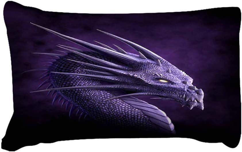 Canvas Housse de Couette avec 2 taies d'oreiller Dragon imprimé en 3D Anti allergène Ensemble de literie avec Fermeture à glissière (3 pièces),AUSingle Audouble