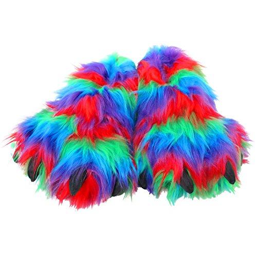WISHPETS Stuffed Animal Slippers - Soft Plush Toy Slim Slippers for Kids and Adults (Medium (Kids...
