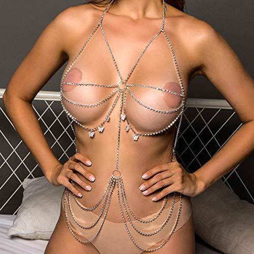 Sethain Boho Strass Bikini Kette Silber Schmetterling BH Ketten Geschichtet Anhänger Truhe Ketten Verstümmelt Taille Kette Körper Zubehör Schmuck für Frauen und Mädchen