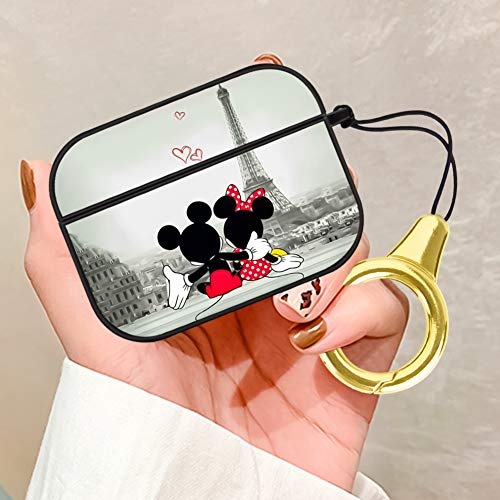DISNEY COLLECTION Airpods Pro Case Cover 2019, Wallpaper Disney Mickey Mouse Hard PC Headphones Case Shockproof Protective Wireless Charging Case with Keychain for Airpods Pro/ 3 (Black)