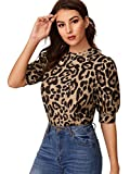 SheIn Women's Puff Sleeve Leopard Print Work Blouse Casual Hight Neck Top Leopard#1 Small