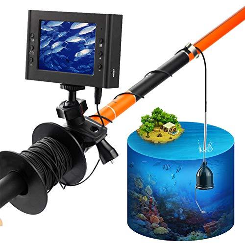 HYRHYT Fischfinder Kamera 30M Unterwasser HD 1200TVL LED Nachtsicht Wasserdicht Endoskop FüR EIS/Sea/Fluss Angeln Mit 7 Zoll LCD Monitor,Black