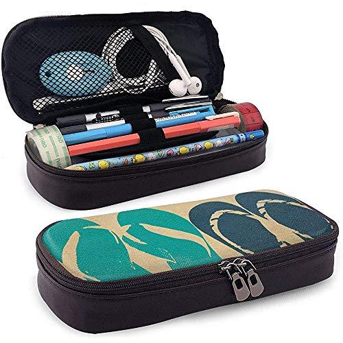 Flip flop es ist ein gutes leben federmäppchen pu leder bleistift tasche schreibwaren veranstalter kosmetiktasche