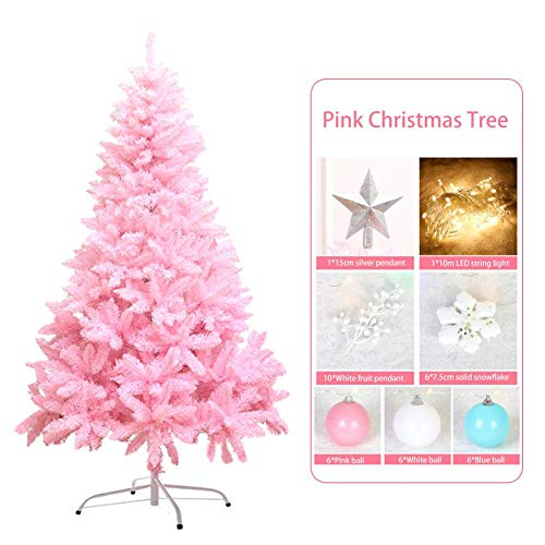 cheerfulus Árbol de Navidad Rosa de 47 Pulgadas, árbol de Navidad de 350 Ramas con Copos de Nieve Colgantes de Frutas, Adorno de Bola Decoración de Fiesta de Navidad