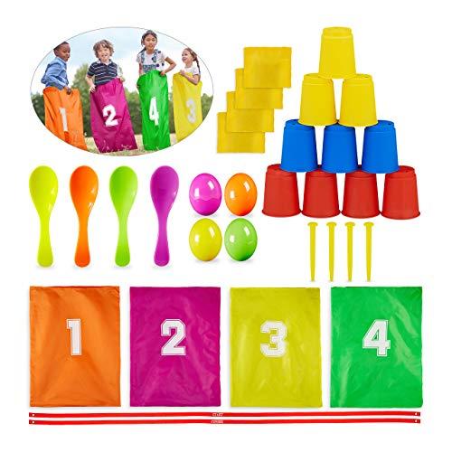 Relaxdays 10028884 Kinderparty, 3 in 1 Set, Garten Spiele für Kindergeburtstag, Sackhüpfen, Eierlaufen, Dosenwerfen, bunt, Mehrfarbig