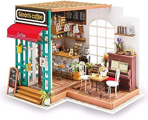 Evav Puppenhaus Miniatur DIY Haus Kit, Hand zusammengebaut P gogisches Spielzeug Geb e Modell Geburtstagsgeschenk-Simon Zeit Kaffeehaus
