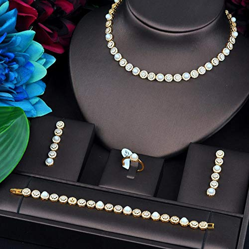 FWJSDPZ New Luxury Design Fashion Pearl Jewelry Sets For Women Wedding Necklace Earring Ring Bracelet Jewelry Accessories (Color : Gold color, Size : Resizable)