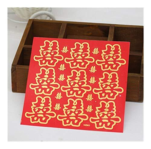 YXCUIDP Chinesische Hochzeit Rot Gold Laser Sequin Cut Papier Türdichtwand Aufkleber Selbstklebende Aufkleber 10pcs / doppelte Glück-Aufkleber (Color : Red)