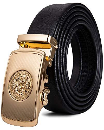 DiBanGu cinturón de trinquete para hombre, de piel auténtica, con hebilla automática, cinturón deslizante Negro Oro Dk-2070 120 cm/40' Cintura