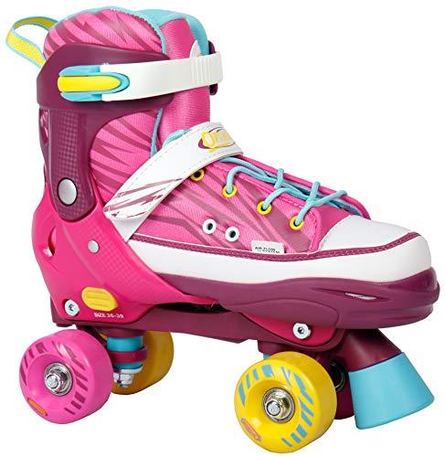 Selltex Rollschuhe verstellbar Größe 36-39 (36 37 38 39) Fuchsia/pink für Mädchen und Damen