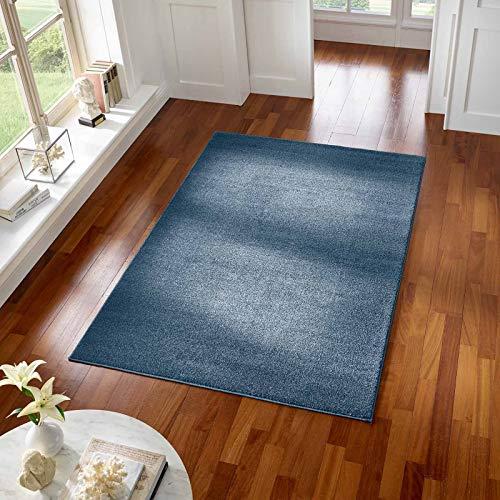 Taracarpet Teppich Kurzflor modern für Wohnzimmer Schlafzimmer und das Kinderzimmer super weich und Öko Tex Zertifiziert dunkelblau 060x090 cm