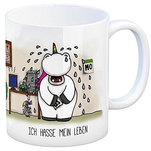 Honeycorns Kaffeebecher mit Einhorn Motiv und Spruch: Ich Hasse Mein Leben Tasse Kaffeetasse Becher Mug Teetasse Büro Unicorn Einhorngeschenk lustig witzig Spruch Einhorntasse Kaffeebecher Büro
