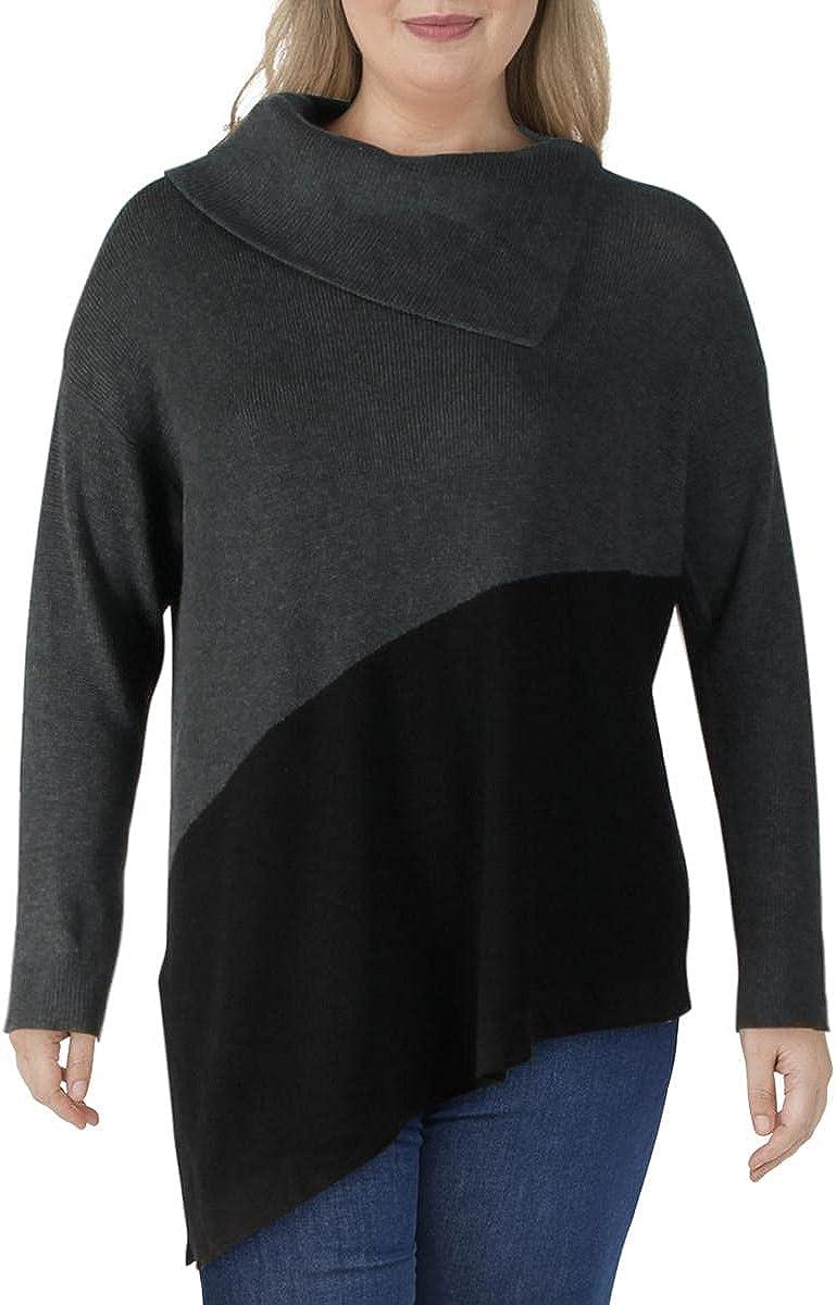 Vince Camuto Womens Plus Asymmetrical Colorblock Turtleneck Sweater Gray 2X
