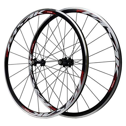 VPPV Ruedas de Bicicleta Carretera 700C Pared Doble Aleación Aluminio Freno En V Ruedas Ciclismo Altura Llanta 30 Mm 24 Hoyos para Velocidad 7/8/9/10/11/12 (Size : 700C)