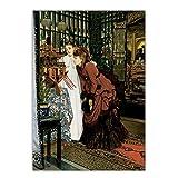 ZNNHEROLienzo Pintura Al Óleo James Tissot Mujeres Jóvenes Que Miran Artículos Japoneses Realismo Moda Dama Estética Decoración para El Hogar-60X90Cmx1 Sin Marco