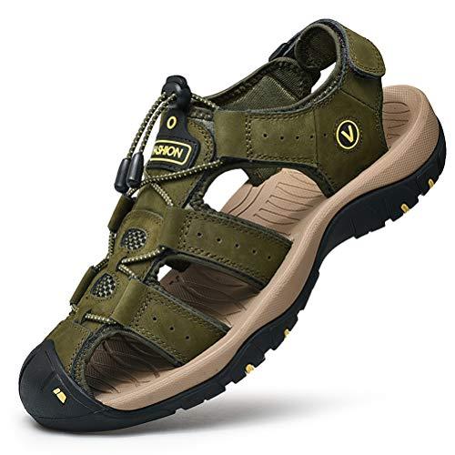 Unitysow Sandalias Hombre Verano Los Zapatillas de Senderismo Transpirable Peso Ligero Cuero Camper Deportivas Sandalias Al Aire Libre Pescador Playa Zapatos,Verde,39