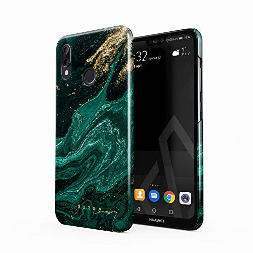 BURGA Hülle Kompatibel mit Huawei P20 LITE - Handy Huelle Grün Smaragd Juwel Marmor Muster Emerald Green Gold Marble Mädchen Dünn Robuste Rückschale aus Kunststoff Handyhülle Schutz Case Cover