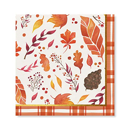 IHR MEDLEY cream leaves toadstools nuts Autumn paper table lunch napkins 33 cm square 3 ply 20 in a pack