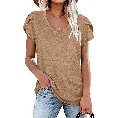 Tee Shirt Femme Ete Grande Taille T-Shirt Col V Manche Courte Chic Top Sexy Tunique Décontractée Sport Basiques S-18XL