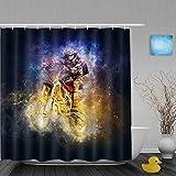 NISENASU Imperméable Rideau de Douche,Pilote de Course Moto,ImperméableSalle de Bain avec Crochets,180 x 180 cm