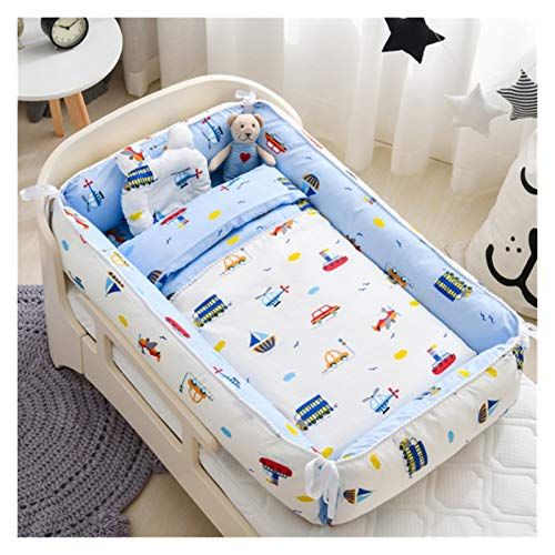 Withou Baby Sleeping Nest Bed with Pillow Portable Anti-stress Crib Travel Bed Baby Toddler Cotton Cradle Crib Bumper,Baby rocking chair (Color : D)