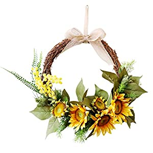 KUKISHOP Sunflower Wreath for Front Door 15Inch Artificial Yellowe Acacia Flower Summer Spring Wreath with Greenery Wedding Wall Home Decor