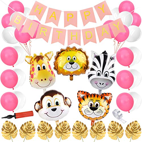 Sunshine smile Dschungel Kindergeburtstag Deko,Safari geburtstagsdeko mädchen,Dschungel Geburtstag Party Deko,Happy Birthday Girlande,Folienballon Tiere,Luftballon Geburtstag,Palmblätter Deko