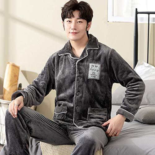 DFDLNL Conjunto de Pijamas para Amantes del Invierno, Ropa de Dormir de Franela Gruesa para Parejas, camisn de Manga Larga para Hombres y Mujeres, Ropa para el hogar M TM7005