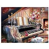 5D Bricolaje Pintura De Diamante Digital Piano Flores Floral Gato Chimenea Mosaico Rhinestone Taladro Completo Hecho A Mano Decoración De La Pared De La Sala De Estar 40×50cm