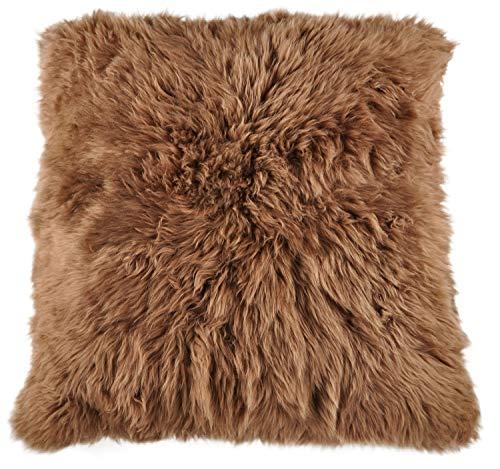 Generisch lamsvel poef zitkussen vloerkussen Pouf 80 x 80 cm bruin XXL lamsvel zitkussen van echte Britse lamsvacht van KUHFELLE online